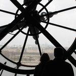 One of the clocks facing the Louvre and Tuileries