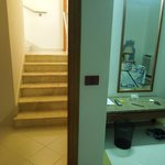 Steps from main lounge to bedroom