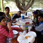 Enjoyimg meals in Gazebo