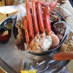Crab, oyster, and shrimp bucket.