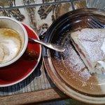 Flat white & Rhubarb Shortcake with fresh cream