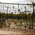 Crosses on the fence at Chimayo