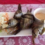 Chicken wrapped in banana leaves