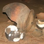 Mayan cooking pots in cave