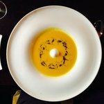 Baked yellow pepper soup, basil-mint oil