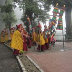 Buddha's procession on the road beside hotel.