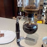 The Siphon coffee maker from Japan. We use it to brew a sweet infusion of high quality coffee.