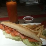smoked salmon baguette...mmmm