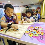 Learn basic motor skills using educational toys, and other supplies in a house for toddler