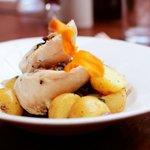Stuffed Chicken Breast with New Potatoes and Creamy Mushroom Sauce