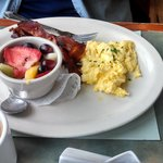 Scrambled Eggs with Bacon and Fresh Fruit