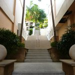 Long stairs up to lobby