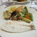 Sea bream cooked in sea salt crust