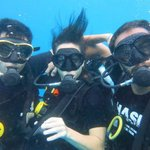 my boyfriend, my teacher and me in my last dive to get the certificate :-)