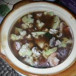 Vegetarian claypot for dinner. We asked for less salt.