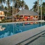 Pool, looking onto restaurant