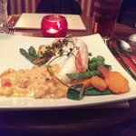 Baked cod with crab lasagna and pink prawn suace.