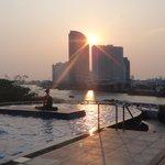 vista da piscina - por do sol