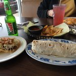 Fish taco. Left and fish burrito right. The fish taco was the best I've had anywhere in the worl
