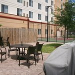 Outdoor Basketball Court and Patio Seating