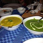 Mutton saag and chicken korma