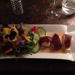 Salade de fleurs et saint Jacques