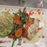 Salmon with stompe and vegetables was delicious
