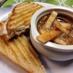 Pepper Jack Skip Jack panini and their special soup of the day (Mexican Chicken Soup). $6.95 plu