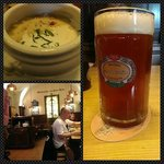 Beer, soup, and interior of the place