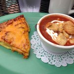 Magnolia's special--- chilled tomato basil soup with sour cream and a quiche like ham and cheese