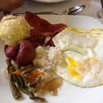 My plate -longganisa (filipino sausage, eggs, ensaymada, some green beans)