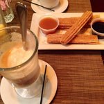 Desserts: Vanilla ice cream with cuban coffee and churros