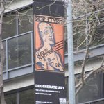 Banner on 5th Avenue for the Degenerate Art Exhibit
