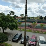 View of the tennis courts from our unit