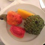 Breakfast fruits - custard fruit, guava, mango etc