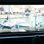 view from our cabin window when docked