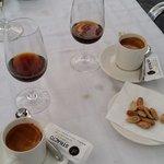 cortados and Pedro Ximenez sweet wine