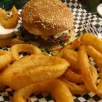 The chili verde burger with onion rings