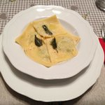 Homemade spinach and ricotta ravioli