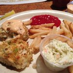 Crab Cakes with Fries and Slaw! SOOOO GOOD!
