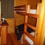 One of two bedrooms in deluxe cabin