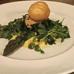 Deep Fried Egg on bed of Asparagus & Watercress