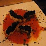 Baccalà con crema di peperoni e olive...