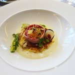 My starter of 'Carbonara': Smoked pork belly, confit egg yolk, parsley, and Parmesan.