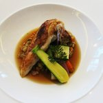 Roast poussin in a spring vegetable consomme with lemon and parsley pearl barley: spring on a pl