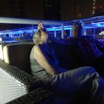 In the bar on the roof