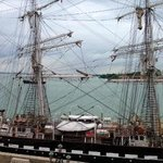 tall ship moored outside the hotel