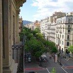 View down Rambla de Catalunya from room balcony