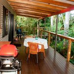 Spacious veranda overlooking the rainforest and river