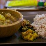 Sri Lankan curry pork with brown rice.